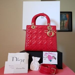 New 2019 Lady Dior Red patent leather bag